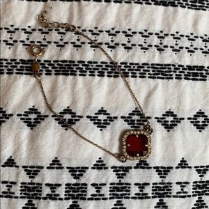 Jewelry - Vintage gold bracelet with red gemstone